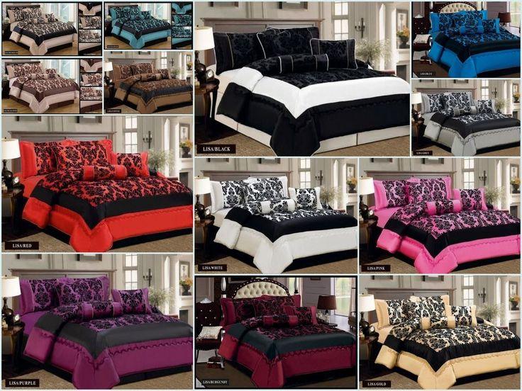 Lisa 7pc Damask Flock Quilted Bedspread Bedding Duvet Set - 3 Sizes
