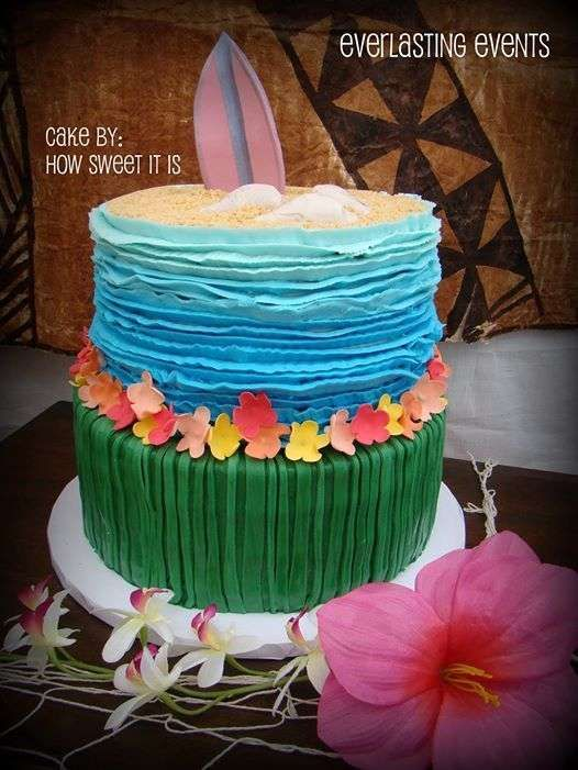 Amazing luau birthday party cake! See more party ideas at CatchMyParty.com!