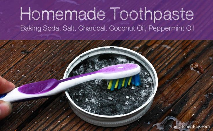 Homemade toothpaste: baking soda, salt, charcoal, coconut oil, and peppermint oil
