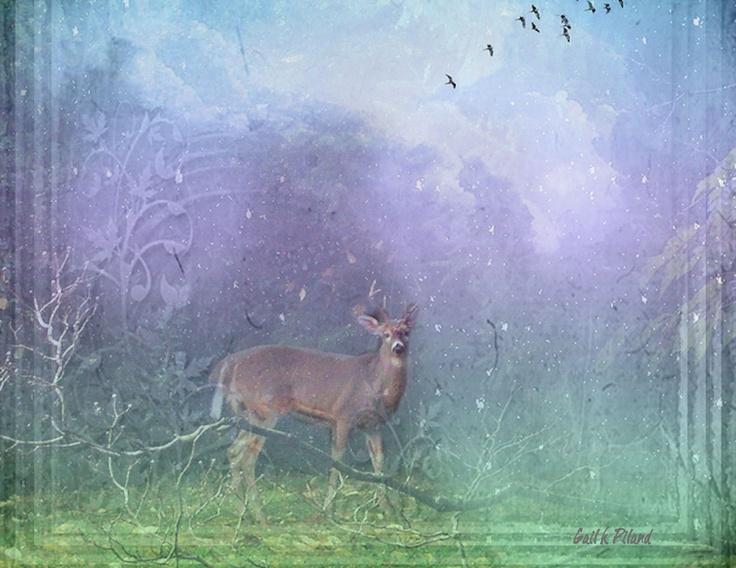 """A deer. He smelled the heavy musk like perfume mingled with blood and the gummed exhalation of the animal's breath, all cardamom and moss and ragweed odor in this huge night where the trees ran at him, pulled away, ran, pulled away, to the pulse of the heart behind his eyes."" The deer symbolizes the nature and peace. Seeing a deer in the wilderness for Montag shows him that the nature's power prevails over the technological advances at that time."