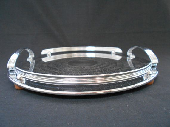 Art Deco Chrome Round Tray  Machine Finished  by DebsDecoDelights
