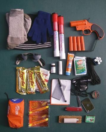 Learn how to pack your own emergency survival kit containing essentials for first-aid, rescue signaling, navigation, shelter, fire-starting, water and food