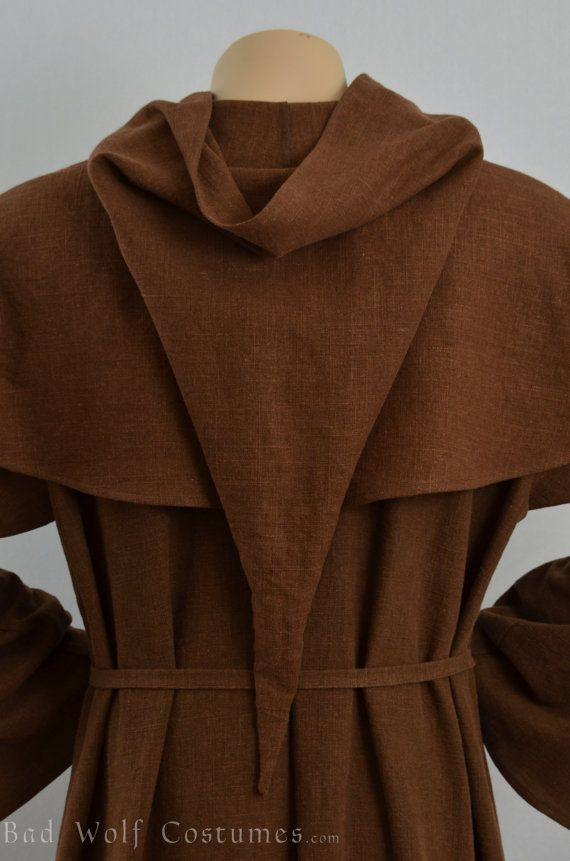 Medieval Monk Costume Renaissance Robe and Hood Friar