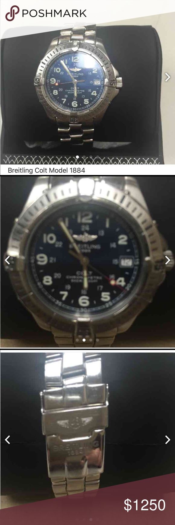 Breitling Colt Model watch Stainless steel Swiss movement with Blue Dial. Breitling 1884 Registration #A74350..chronograph metre water resistant 500m/1650 Feet....less on M Breitling  Accessories Watches