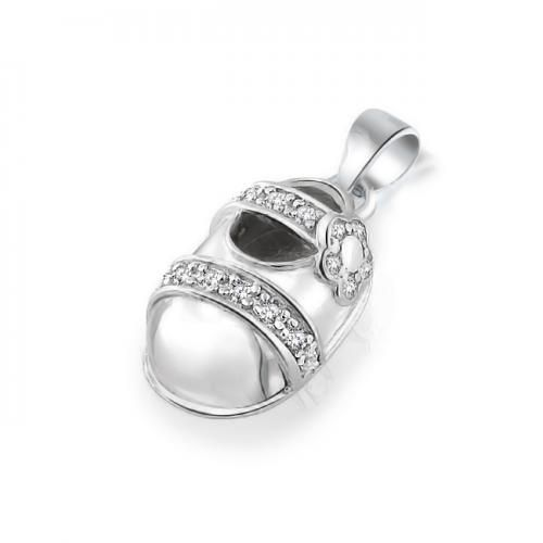 Bling Jewelry Pave CZ 925 Sterling Silver Mary Jane Baby Shoe Charm Pendant