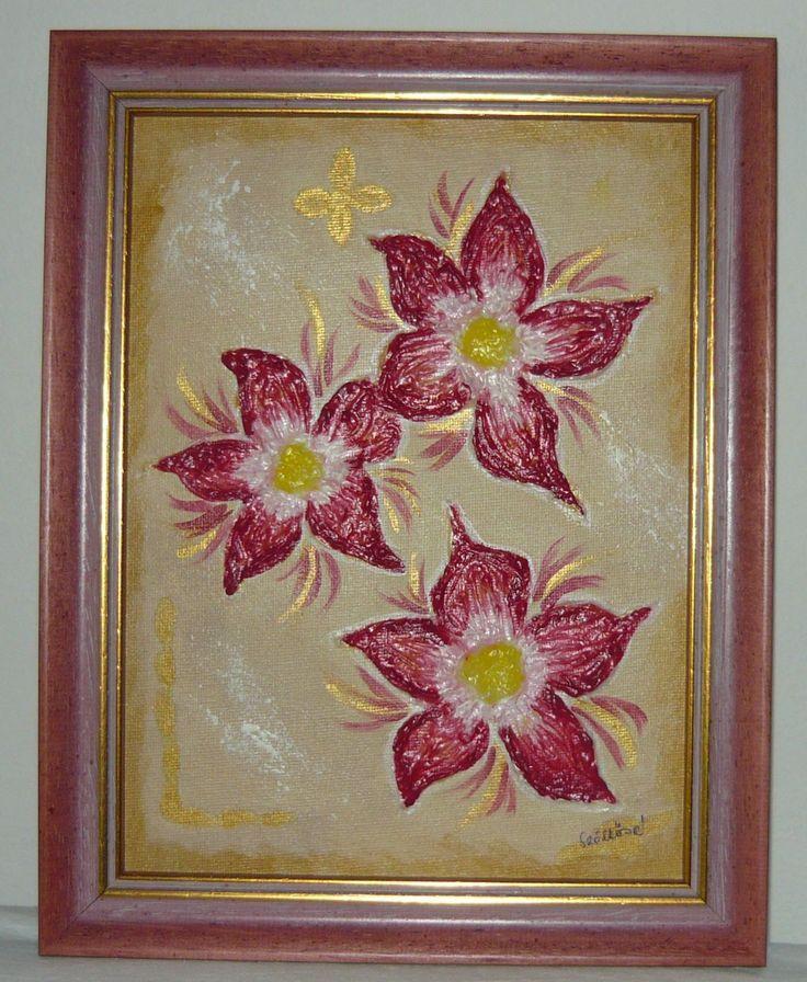 created by: Kovácsné Sz. Éva - flowers, acrylic, 20x25 cm canvas, modelling paste
