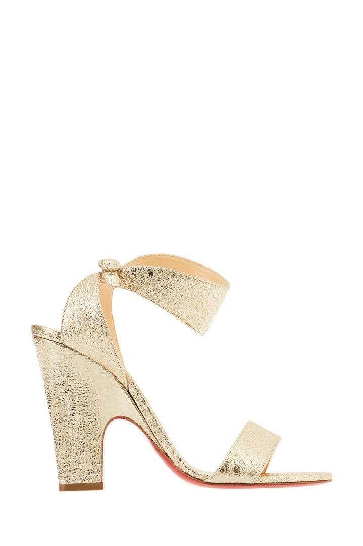 150990716 Золотистые босоножки Arletissima 100 Christian Louboutin | Высокий каблук |  Heeled mules, Wedges, Heels