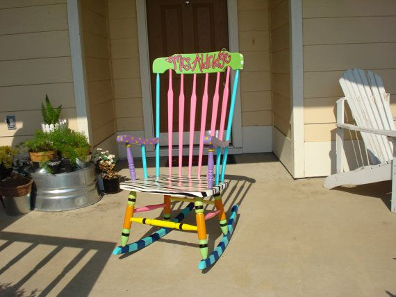 Custom Painted Teacher Rocking Chair by passionatelypink