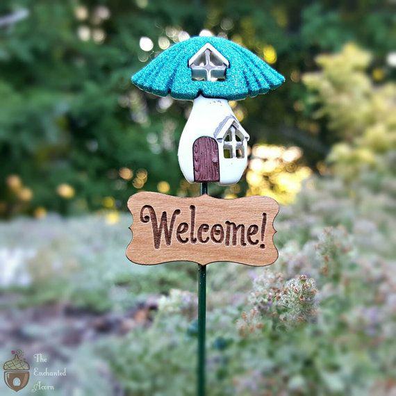 Gnome Garden: Fairy Garden Miniature Mushroom Welcome Sign