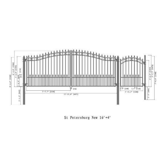 Aleko Steel Dual Swing Driveway Gate St Petersburg Style 16 Ft