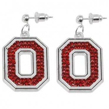 "Ohio State Rhinestone Earrings. Made by Seasons Jewelry, these Ohio State earrings feature vibrant team-colored rhinestones and post backing to ensure they stay attached. Add a splash of style to your wardrobe with this piece of Ohio State jewelry. Rhinestone Earrings, Rhinestone jeweled team logos, Post backing, Measures approximately 1/2"" long. Officially licensed Ohio State merchandise."