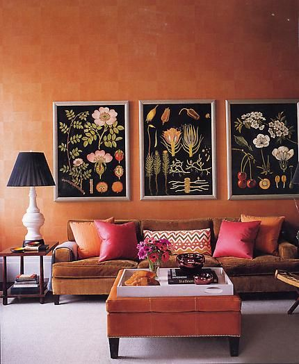 Orange and pink used in a soothing way.....Steven Gambrel.
