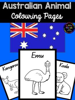Australian Animal Colouring PagesProduct Description:This pack includes 13 (thirteen) A4 page size Australian Animal colouring pages. The Australian Animals in this set are Koala, Kangaroo, Emu, Wombat, Kookaburra, Echidna, Dingo, Platypus,  Tasmanian Devil, Bandicoot,  Quokka , Frilled Neck Lizard and Sea Turtle.