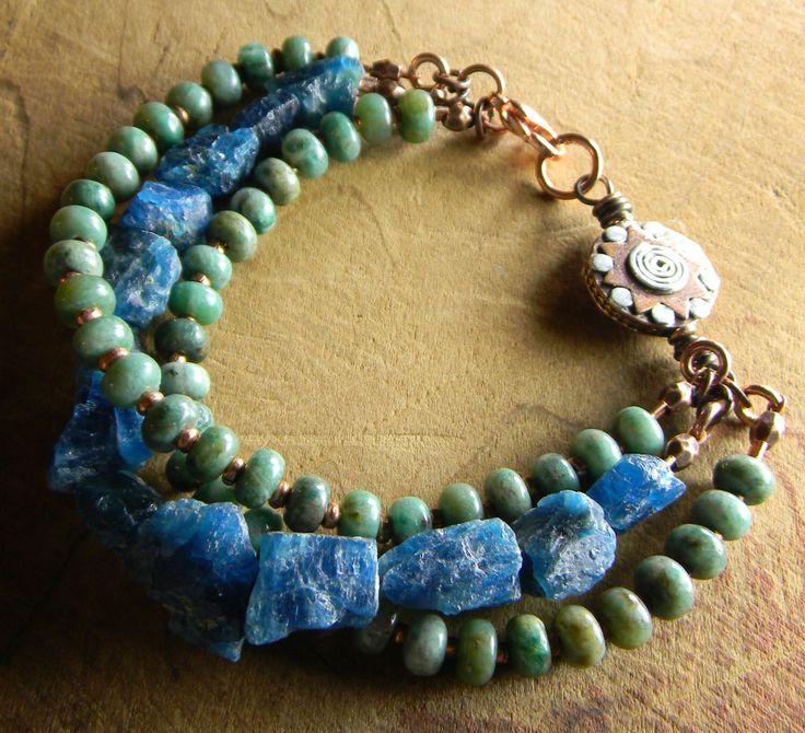 Boho Southwestern Apatite Bracelet Copper Blue Green Rustic Jewelry by ChrysalisToo on Etsy https://www.etsy.com/listing/214233189/boho-southwestern-apatite-bracelet