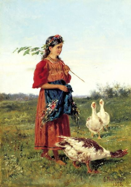 Russian Painter: Makovsky Vladimir - 'Girl with Geese'