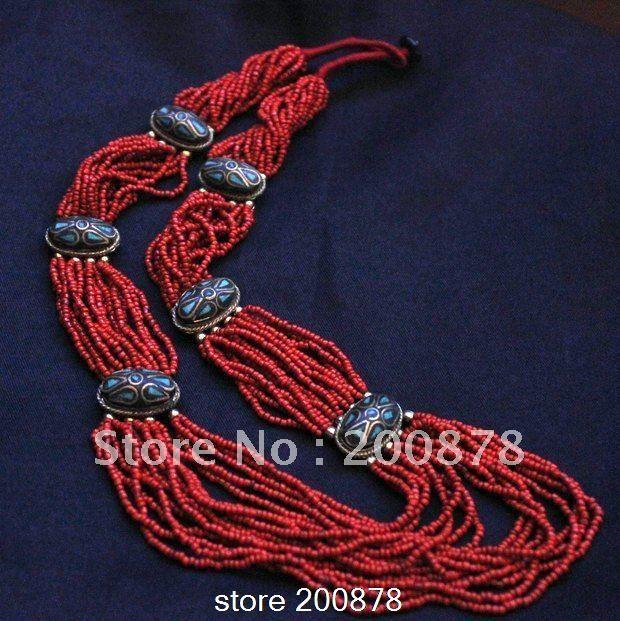 Дешевое Tnl252 тибетский красный коралл мини бусины латунь подвески длинное ожерелье, непал этническая бохо мода, оптовая продажа этнические племенные ожерелья, Купить Качество Цепи непосредственно из китайских фирмах-поставщиках:        Тибетский ручной длинное ожерелье , этнических мода мульти нить шарик     Заявление ожерелье .  * Удивительно, к