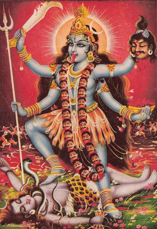 Kali Goddess of Earth, Nature, destruction, creation and renewal.  She helps clear away problems the are old so that your healing can begin.