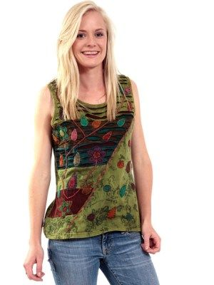 Print cotton patch top with cut work. Made in Kathmandu, Nepal. We sell our funky tops to retailers world wide #hippyclothes #hippieclothing #bohemianclothes #gypsyclothes