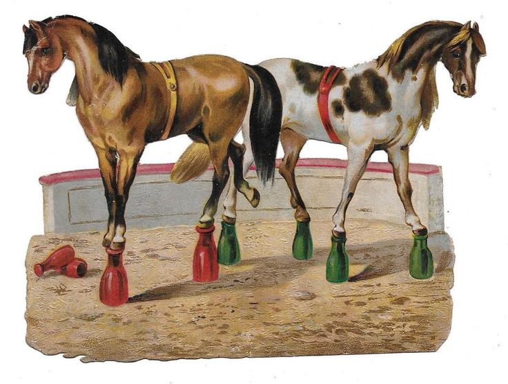 Victorian Die Cut Scrap Circus Horses: