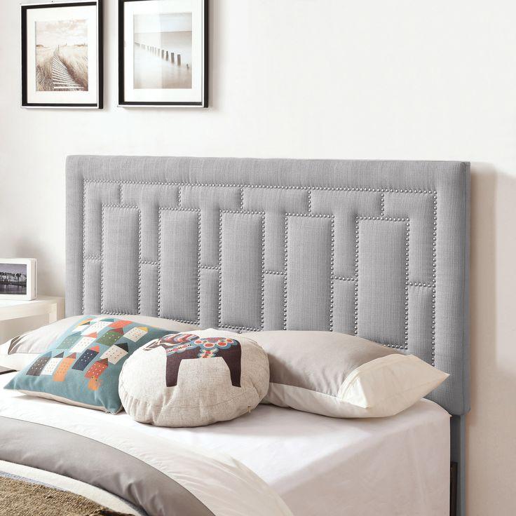 Handy Living Lisbon King/California King Grey Linen Upholstered Headboard (Grey)