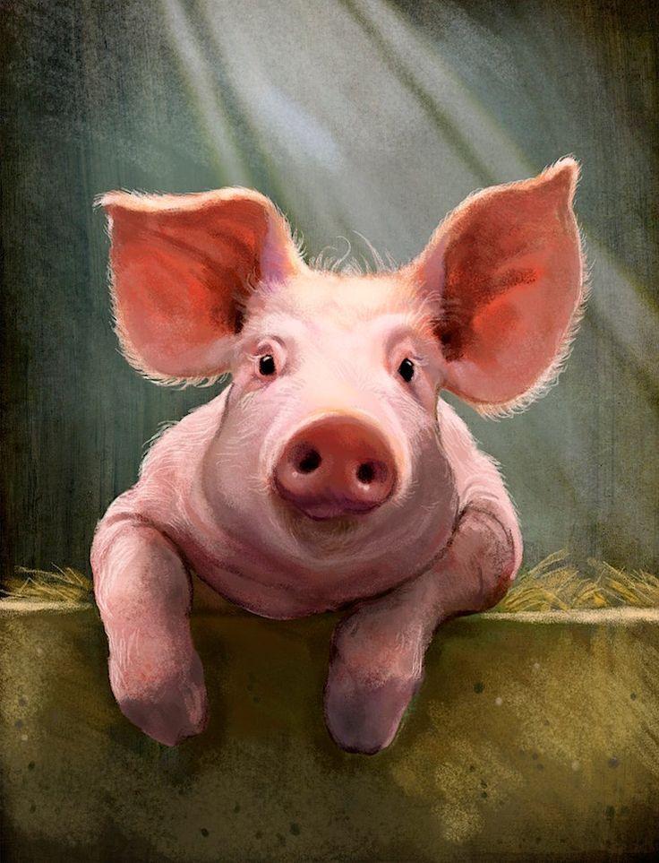 Прикольные рисунки про свинью, доброй ночи