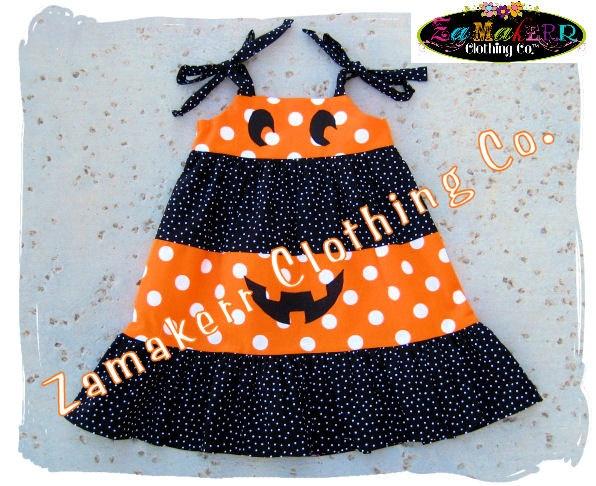 Halloween Orange N' Black Dots Tiered Pumpkin Face Twirl Dress
