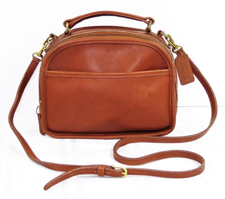 Vintage coach lunch box satchel crossbody bag british tan leather handbag  purse