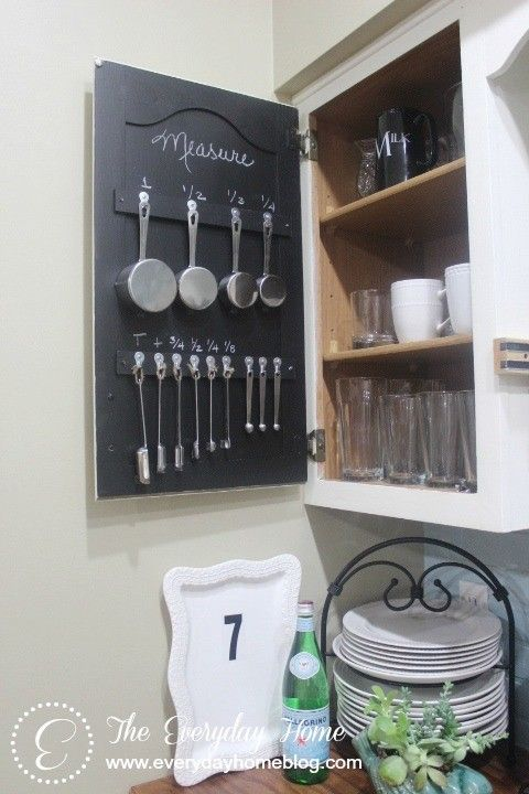 Small House Solutions - The Inspired Room Store measuring cups and spoons on cabinet door.