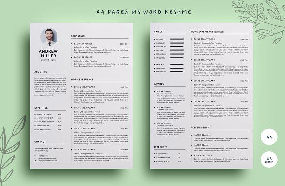 04 Pages WORD Resume by CodePower on @creativemarket