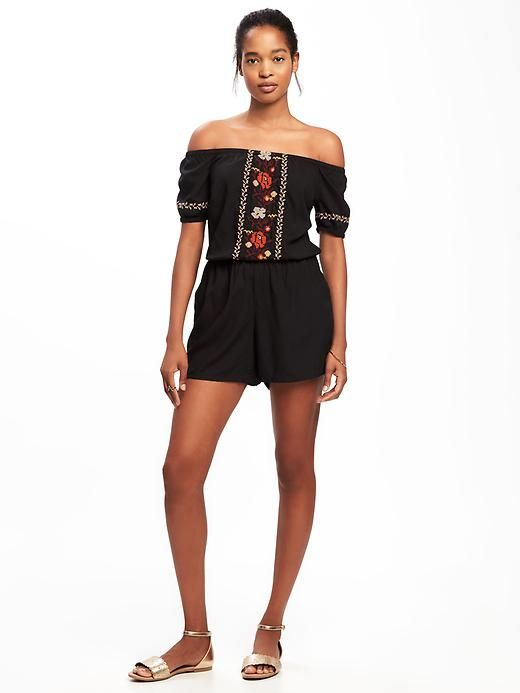 Off-the-Shoulder Embroidered Romper for Women