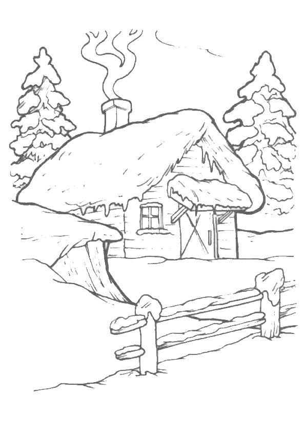 Coloriage d une maison en montagne dont la chemin e fume - Dessin theme noel ...