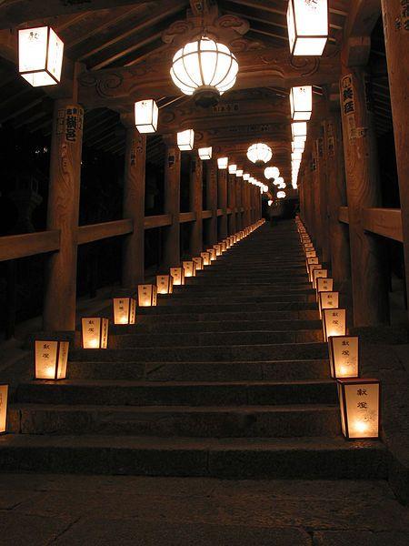 Traditional lantern staircase at Hase-dera temple Sakurai, Nara, Japan