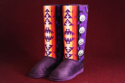 Native American Clothing - Womens Purple Boots w/ Purple Navajo Print & Concho Buttons – Charm's Native Boots