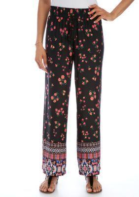 New Directions Black  Pink Petite Floral Border Print Wide Leg Pant