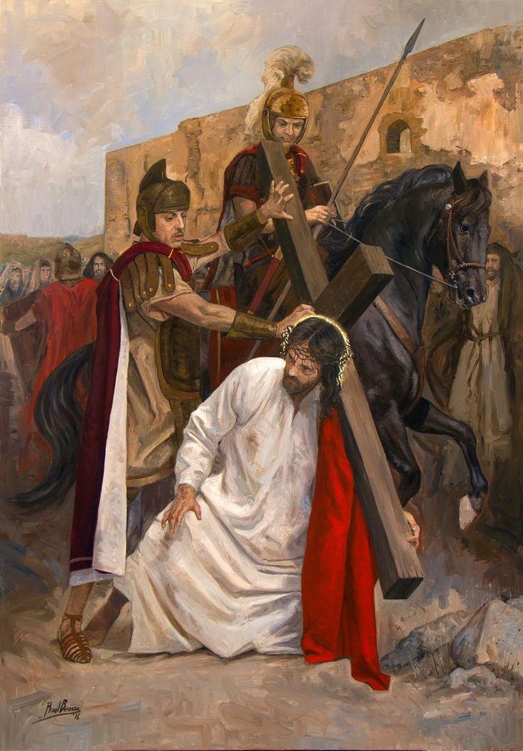 Título: Jesús cae por primera vez.Año: 2017.Técnica: Óleo sobre lienzo, 81 x 116 cm.Descripción: III Estación de Vía Crucis para Guatemala.