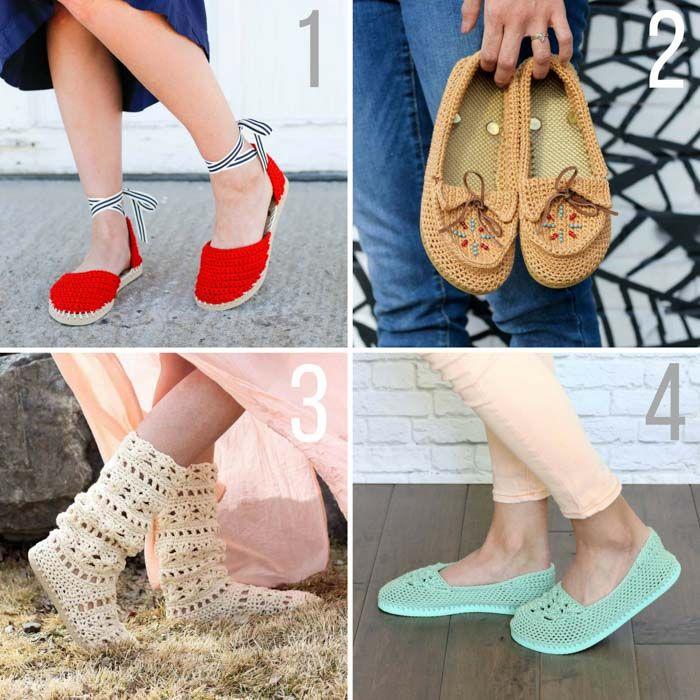 modelli liberi di scarpe uncinetto con suole flip flop in gomma e filati di cotone 24/7 Marca Leone.
