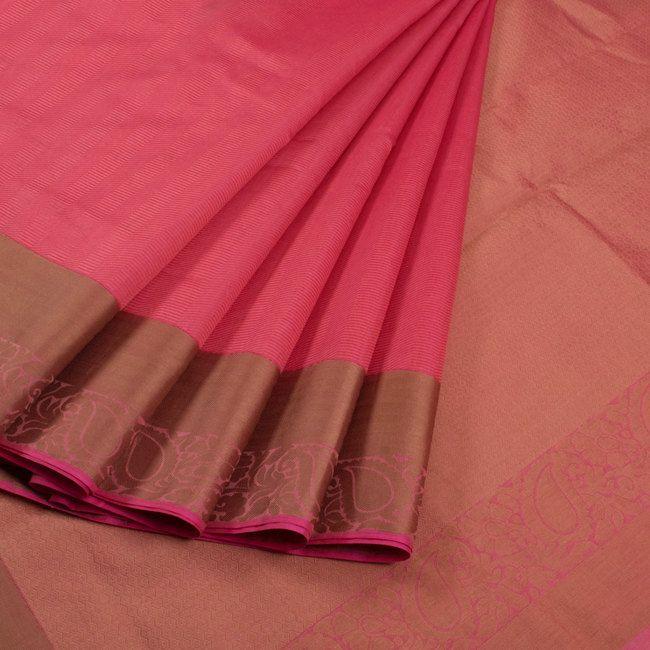 Buy online Handwoven Pink Chanderi Silk Saree With Floral Border & Pallu 10013719