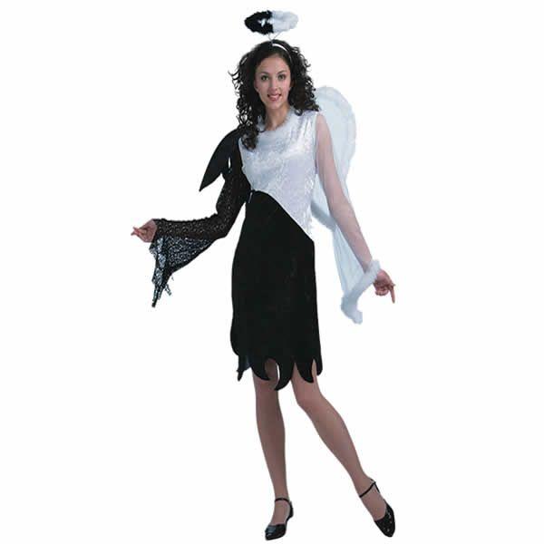 DisfracesMimo, disfraz de angel blanco y negro mujer talla m/l. Lo pasarán de muerte asustando a los pequeños en la noche de Terror y halloween. Este disfraz es ideal para tus fiestas temáticas de miedo y espirtus para adulto.