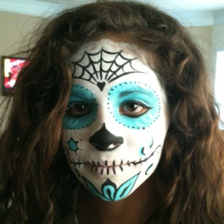 sugar skull face paint my beautiful niece - Halloween Skull Face Paint Ideas