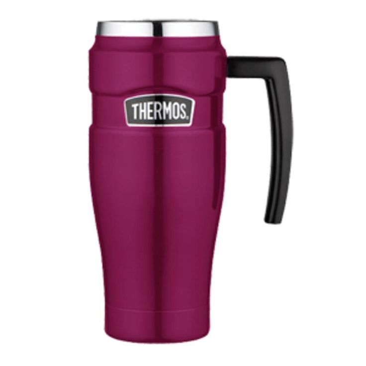 Thermos Stainless King™ Vacuum Insulated Travel Mug - 16 oz. - Stainless Steel/Raspberry