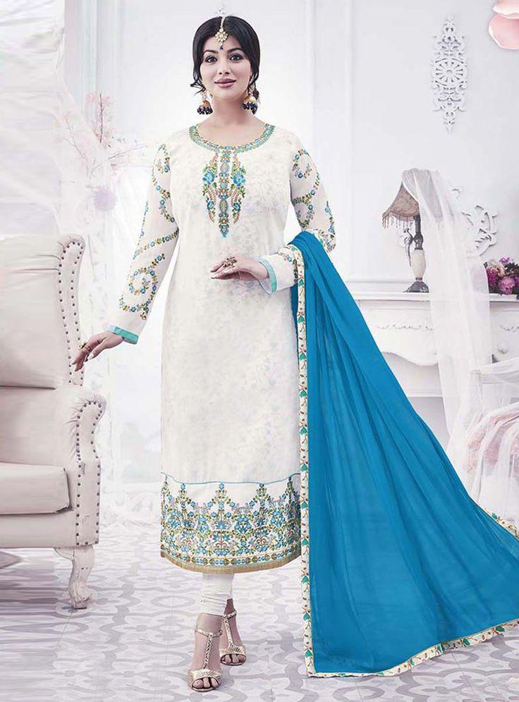 Ayesha Takia White Georgette Churidar Salwar Suit 120975