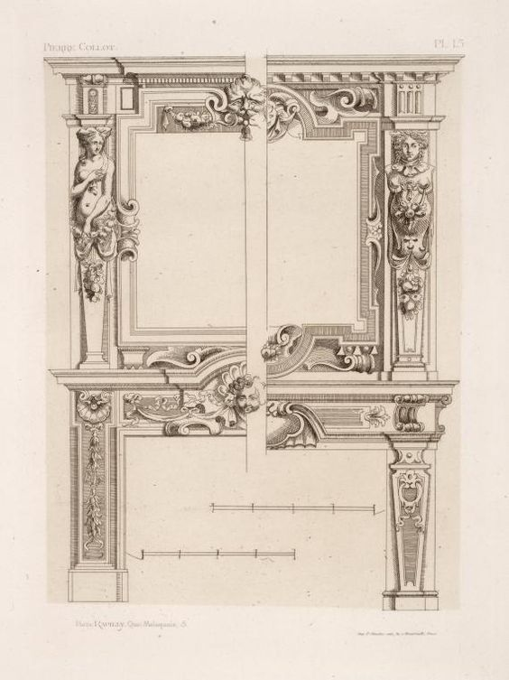 Fireplace Surround Dimensions Part - 35: [Two Designs For Chimney Pieces Of Same Dimensions But Varied Decoration.] Fireplace  Surround