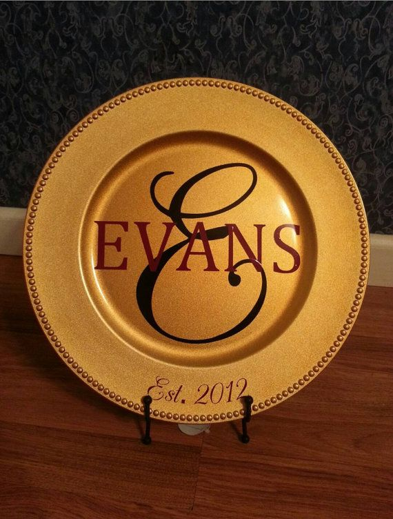 Personalized Gold Charger Plate Last Name  by TakeItPersonalGifts