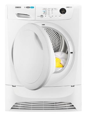 Zanussi ZDH8333P Heat Pump Tumble Dryer, 8kg Capacity, A+ Energy. 8 avaliable programmes, such as Cottons, Synthetics and Duvet. With easy touch control buttons, choosing the programme that best suits your load is easy. The auto-sense system automatically selects the right drying time for every load that you put in. With only one filter, cleaning the machine is quick and simple. This model can have the door reversed to suit your needs, meaning the dryer can be placed anywhere you like.