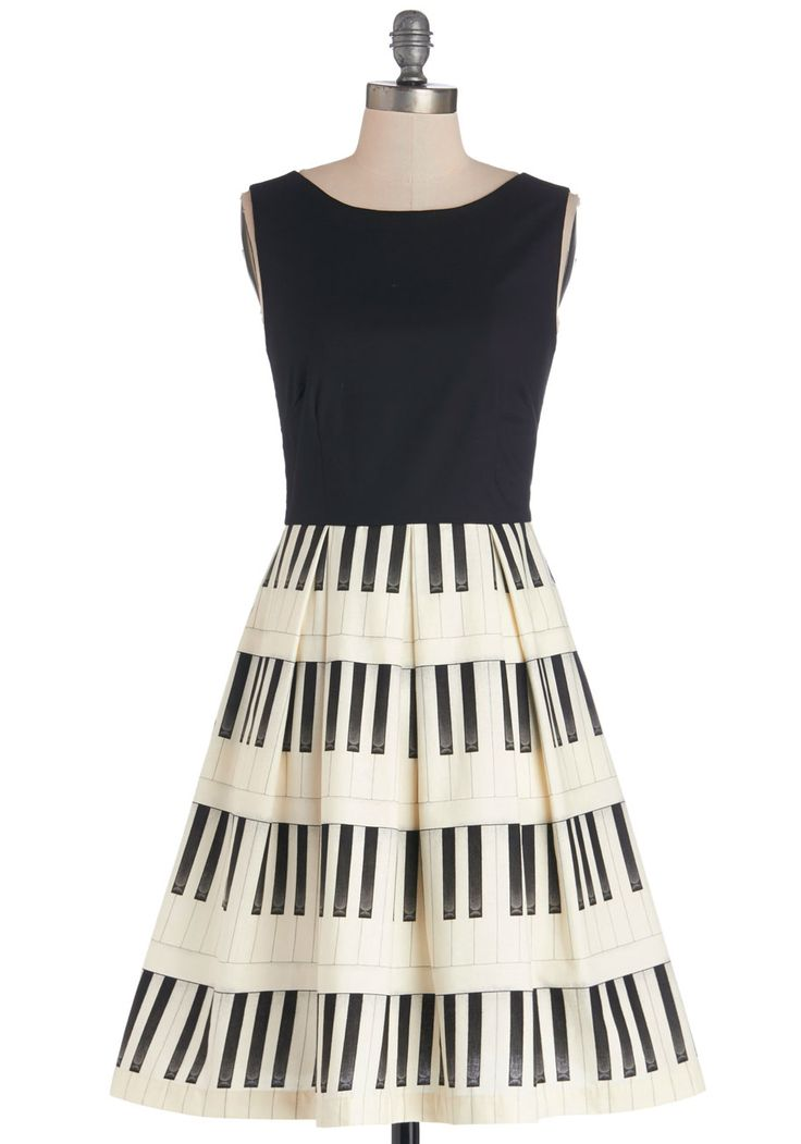 Me, Myself, and Ivories Dress. As you stand and accept your award in musical mastery, the applause swells for your topical frock and tasteful poise.  #modcloth