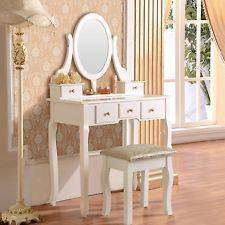 White Vanity Makeup Dressing Table Set w/Stool 5 Drawer&Mirror Jewelry Wood Desk