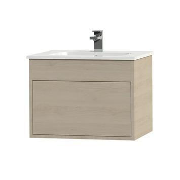 Tiger Helsinki badkamermeubel 60 cm naturel eiken met wastafel keramiek wit kopen? Verfraai je huis & tuin met Badkamermeubelen van KARWEI