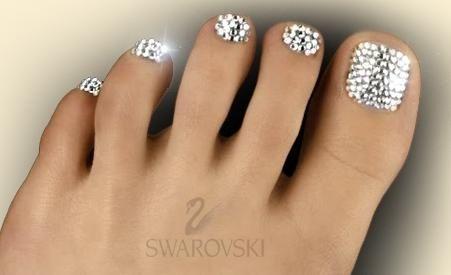 we like shiny things :-)    A swarovski pedicure
