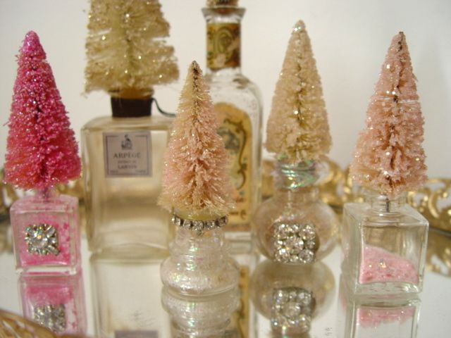 Miniature Trees! I love making these!  They are in tiny salt shakers, glass bottle tops, turned upside down, parfum bottles, and adorned with vintage rhinestones.