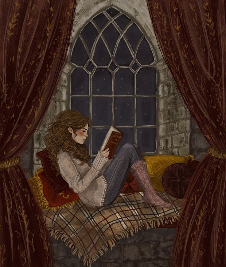 Hermione Reading by jennapaddey on DeviantArt